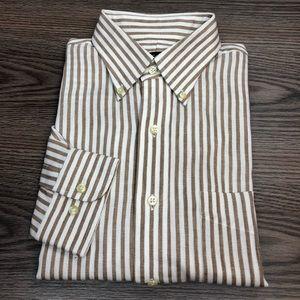 Jos A Bank White & Taupe Stripe Linen Shirt M